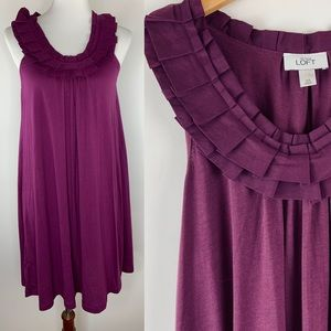 LOFT Ruffle Neckline Shift Dress Size XS Purple